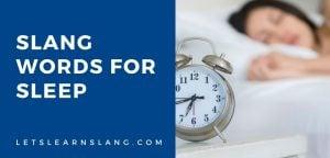 slang words for sleep