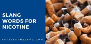 slang words for nicotine